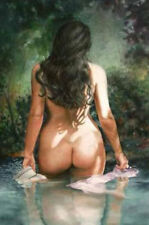 LMOP690 fine nude naked lady bathe in river hand paint art oil painting canvas