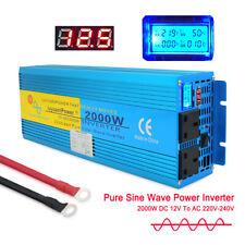 Car 4000W Peak 2000W Pure Sine Wave Power Inverter Converter DC 12V TO AC 230V