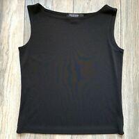 Emanuel Ungaro Knit Top Tank Pullover Crewneck Sleeveless Black Small VGUC