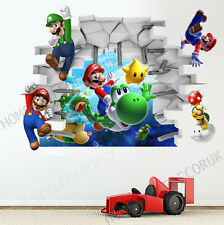 Super Mario Galaxy Luigi Yoshi Wall Sticker Kids Bedroom Game Room Decor Decal