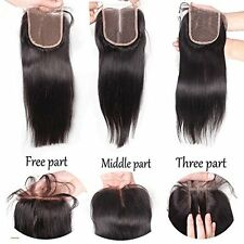 "3 Way Part Brazilian Lace Closure Straight Bleached Knots with Baby Hair 4""*4"""