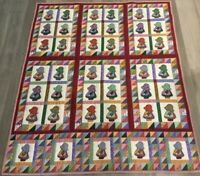 Sunbonnet Sue Quilt With Triangles, Printed Design, Hand Quilted, Multi Color