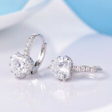 Women Engagement Heart Sapphire Rhinestone Crystal Eternity Leverback Earrings