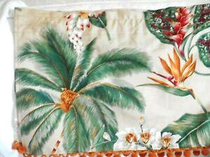 Jacqie's VINTAGE POMS VALANCE Tropical Hawaiian Barkcloth ~Koko Head /Palm Trees