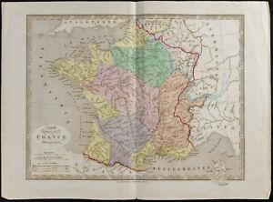 1845 - Carta Antica Francia (Fisica) (Frémin, Amore) Antico Map Of Francia
