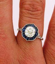 Stunning Art Deco 1.43 Old Cushion Cut Diamond Sapphires Plat Engagement Ring