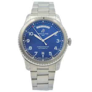 Breitling Aviator 8 A45330101C1A1 Day/Date with Blue Dial on Bracelet - 41mm