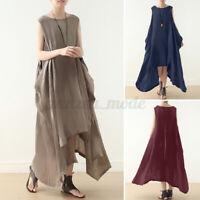 UK Womens Summer Sleeveless Cotton Casual Loose Irregular Hem Kaftan Long Dress