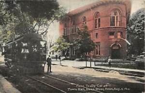 DEEP RIVER, CT ~ FIRST TROLLEY IN TOWN AT CITY HALL IN 1912, PEOPLE ~ used 1913