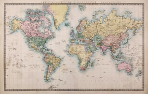 Vintage  Poster Print canvas map of world