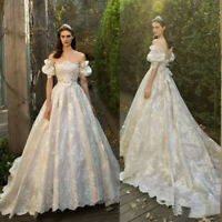 Vintage Princess Wedding Dresses Off Shoulder Satin Appliqued Bridal Gowns Plus