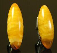 Natural OLD Antique 8.8g Butterscotch Egg Yolk Baltic Amber Stone Cufflinks C450