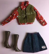 Barbie Doll Clothes Lot Barbie Jean Fashion Skirt Shirt/Vest Boots 1990s Mattel