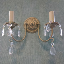 2 Lt Traditional Style Wall Light W/ Crystal Effect Droplets CLEARANCE Litecraft