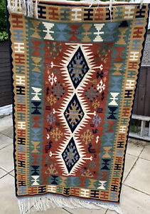 VINTAGE MEXICAN AZTEC RUG 185 x 102cm. THICK, HAND MADE WOVEN RUG WOOL ETHNIC