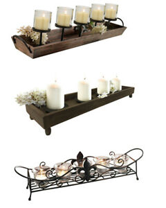 Decorative Rustic Wood Metal Candle Tray for Living Room/ Dinning Table/ Bedroom