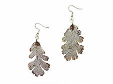 French Wire Dangle, Hook Earrings Usa Lacy Oak Real Leaf Silver Dipped, Plated