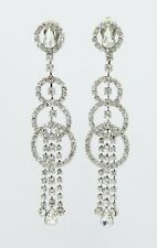 "New Lesli Dale 5"" Crystal Art Deco-Style Dangle Clip-on Crystal Earrings #LD2"