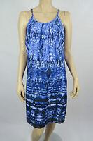 Crossroads Ladies Sleeveless Pleat Neck Shift Dress size 12 Colour Blue