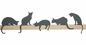 ARTORI Design Cats' Meow Cat Statue Figurine Silhouette Gray Metal Shelf Decor