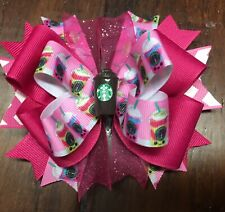 Starbucks Stacked Boutique Hair Bow Toddler Girl Coffee Cup Sparkle Frappe