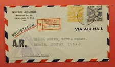 1941 CURACAO WILLEMSTAD REGISTERED AIRMAIL TO USA WWII CENSORED TRIANGLE CENSOR