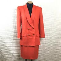 Vintage Gilmor Womens Skirt Set Size 6 Orange Salmon Double Breasted 80s Awesome