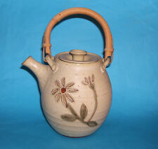Beaulieu Studio Pottery Signed KK - Attractive Cane Handled Raised Design Teapot