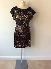 GREAT PLAINS DARK BROWN FLORAL PRINT FRILL SLEEVE PENCIL DRESS SIZE L