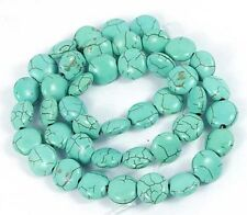 """10mm Spider Web Blue Turquoise disc Coin Beads 16"""""""