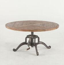 "42"" round adjustable height industrial coffee table handmade reclaimed wood"