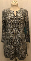 New! NWT XS Coolibar St Lucia Tunic Top UPF 50+ 3/4 Sleeve Black Floral w/Slits
