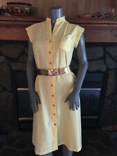 Vintage 70's Yellow Button Shift Dress By Breli Originals Size Medium