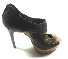 "Jessica Simpson ""Evannan"" Black/Bronze Leather High Heel Peep Toe Pumps 10 B"