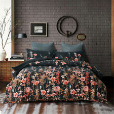 Vintage Floral Reversible Comforter with Pillowcases King Size Flower Bedding