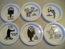 1960s Set of 6 Plastic Party Drink Coasters~Barware~Mancave