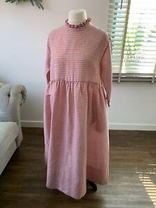 CABBAGES & ROSES Lola Frill Neck Linen Smock Dress Pink Stripe Size 10 Oversized