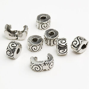 Women Clip Lock Beads Water Ripple Stopper Bead Fit Bracelets & Bangles DIU Y^