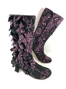 Irregular Choice Flower Print material Kitten heel Boots Ruffles Sz 39 US 8