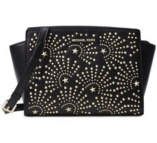 NWT MICHAEL Michael Kors Selma Stud Firework Medium Leather Messenger Bag Black
