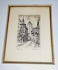 Gravure Eau-forte, signée, Rue moyen-âge, signée Fonbonomme, Meersburg ?