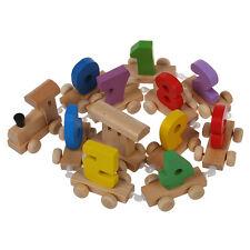 Digital Number Wooden Train Figures Railway Kids Wood Mini Toy Educational BF