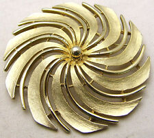 Vintage SARAH COVENTRY Large Round Swirl Pin w/ Cutout Areas Gold Tone