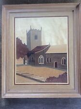 Artist Signed David Hume Marquetry Wooden Panel St Mary's Church Bishophall York