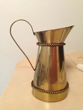"""6 1/2"""" Tall Brass Pitcher with Twisted Rope Trim"""