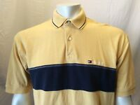 Tommy Hilfiger Yellow Cuffed Short Sleeve Pique Men's Polo Shirt Size Large
