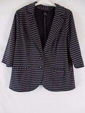 Torrid Womens 3 Gray Metallic Striped 3/4 Sleeve Career Jacket Blazer DD356