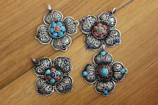 PN850 Tibetan Silver Colorful Beads Flower Women Pendant Handmade Nepal Jewelry