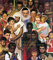 The Golden Rule 22x30 Art Print by Norman Rockwell  inspirational
