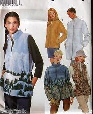Cardigan Fleece pattern sz XS S M vest jacket 6-16 S9409